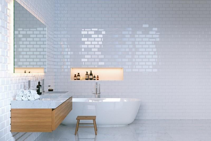 Luxury minimalist bathroom interior with brick walls. 3d render.